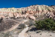 Trails near beautiful rocks in Cappadocia Stock Photos