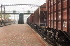 Trails, rails, direct the railways. Railway transportation royalty free stock images