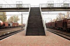 Trails, rails, direct the railways. Railway Transitions stock photo