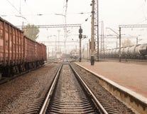 Trails, rails, direct the railways. Railway transportation royalty free stock photo