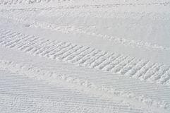 Trails on the prepared by bobcat snow Royalty Free Stock Photography