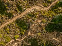 Trails to somewhere. Some trails from the tops of the Santa Monica mountains shot with a drone stock photos