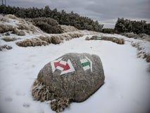 Trailway подписывает внутри польские горы Karokonosze стоковые фото