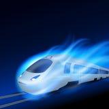 Train à grande vitesse en flamme bleue de mouvement la nuit illustration libre de droits
