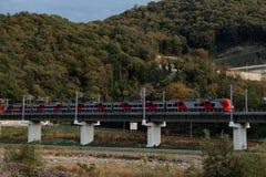 Train à grande vitesse Lastochka sur le chemin de fer de montagne Photo stock