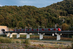 Train à grande vitesse Lastochka sur le chemin de fer de montagne Photos stock