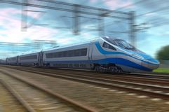 Train à grande vitesse moderne dans le mouvement sur la voie ferrée Images stock