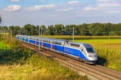 Train à grande vitesse Strasbourg - Paris, France Photographie stock libre de droits