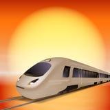 train à grande vitesse Temps de coucher du soleil Photographie stock libre de droits