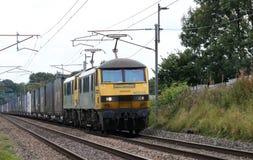 Train électrique de récipient de fous de Freightliner, WCML Photographie stock