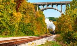 Train éloigné de vapeur image stock