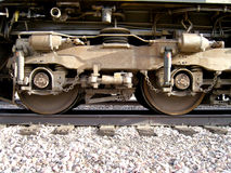 Train 1. Close-up of wheels on a train Royalty Free Stock Photos