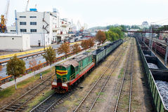 Train. A train carries cargoes at the port Royalty Free Stock Photography