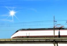 Train. Isolated train run under blue sky Stock Photo