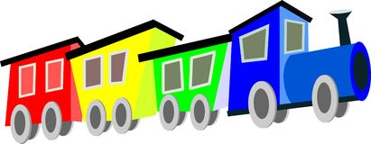 Train. Colored train with three cars vector illustration