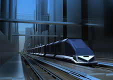 Train. Of the future, standing on the platform at the city railway station