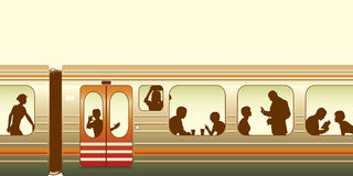 Train. Editable  illustration of passengers on a train Royalty Free Stock Photo
