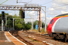Train pulling into station Royalty Free Stock Image