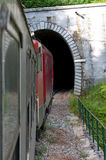 The train. Drives into a tunnel Royalty Free Stock Photos