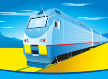 Train. Vector illustration of train on background of mountains and blue sky Stock Photo