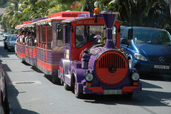 Train. This train is used on the road as transport around the tourist spots on the island of Noumea in the South Pacific Royalty Free Stock Photos
