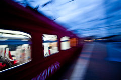 Train. In motion. Moscow, Kievskiy railstation Stock Images