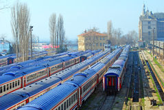 Train. A railway station with train Royalty Free Stock Image