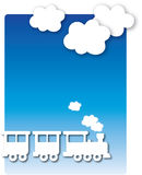 Train. The engine under the clouds, cut out from paper Royalty Free Stock Photos