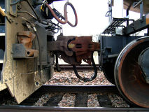 Train 3. Close-up of wheel on a train Royalty Free Stock Photography