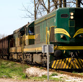 Train. Diesel cargo train in motion Royalty Free Stock Images
