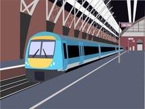 Train. Illustration of train in station stock illustration