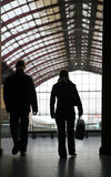 Train. The train station of anvers in belgium, people silhouettes stock photos