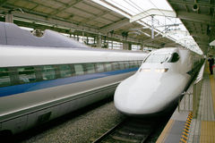 Train. Fast bullet train arriving at Kyoto station, Japan Royalty Free Stock Photos