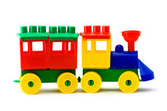 Train. Colorful model train and one carridge on white background Royalty Free Stock Images