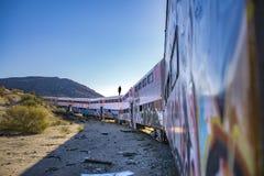 Train abandonné dans le désert de San Diego County Image libre de droits