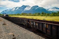 Train abandonné dans le pré alpin 2 Photos stock