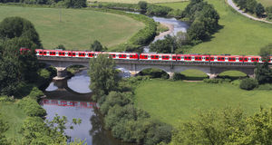 Train from above in the countryside. A passenger train from above in the countryside Stock Image