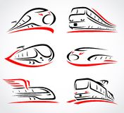 Train abstract set. Vector Royalty Free Stock Images