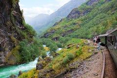 By the train across Scandinavian mountains Stock Photo