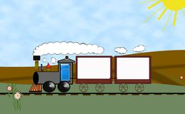 Train,advertisement. Illustration train in slash-grain wood with through space for advertising and next Stock Photos
