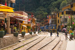 Train in Aguas Calientes royalty free stock photo