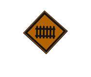 Train ahead traffic sign. Rail track stock image
