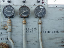 Train Air Brake guages. Pressure Guages for brake system on an old train in the engineers compartment Royalty Free Stock Images