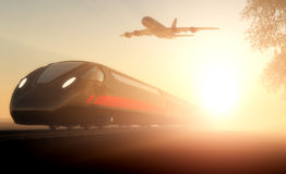 The train and airplane Royalty Free Stock Photography