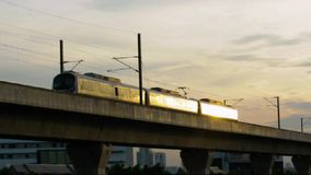 Train, Airport Link (City Line). To suwannaphum airport stock footage