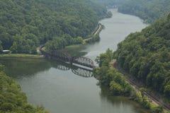 Train Along New River Stock Image