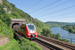 Train along river Moselle in Germany Stock Photography