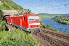 Train along river Moselle in Germany Stock Images
