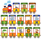 Train alphabet with animals A to M. Vector illustration, eps Royalty Free Stock Image
