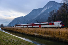 Train in the Alps Royalty Free Stock Photos